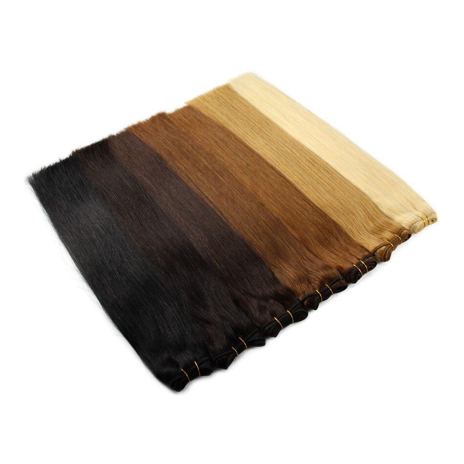 Human Hair Weaves Straight Machine Remy Hair Bundle Platinum Blonde Real Natural Hair Black Sew In Weft 100g 12